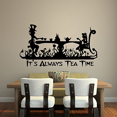 YINGKAI Its Always Tea Time Wall Decal Quote Alice in Wonderland Wall Art Mad Hatter Tea Party Decor Living Room Home Vinyl Carving Wall Decal Sticker for Home Window Decoration