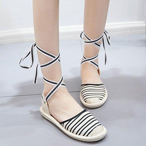 Bandage Mode Pêcheur Pantoufles Sandales Femme Sandales Espadrilles Été Noir Plat Chaussures Chaussures Rome JIANGfu wzFqHXw