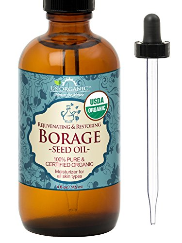 US Organic Borage seed Oil (18% GLA), USDA Certified Organic, 100% Pure & Natural, Cold Pressed, aka Starflower oil, in Amber Glass Bottle w/Glass Eye dropper for Easy Application (4 oz (115 ml))