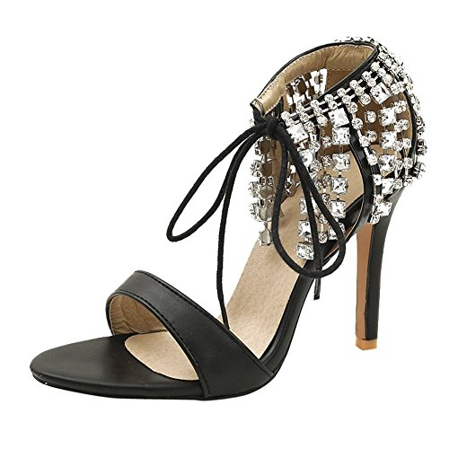 Carolbar Women's Fashion Sexy Rhinestones High Heel Stiletto Dress Sandals Black