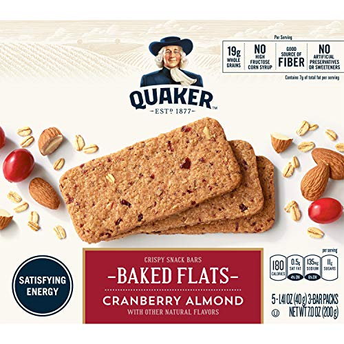 - Quaker Breakfast Flats, Cranberry Almond, Breakfast Bars, 5 Pouches, 3 Bars in Each Pouch