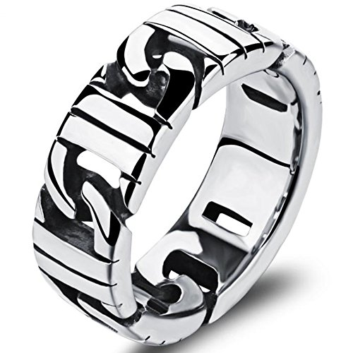 Stripes Personalized Chocolate (Mens Stainless Steel 8mm Stripes Punk White Ring Black Silver Domineering Rock Personalized Biker Band)