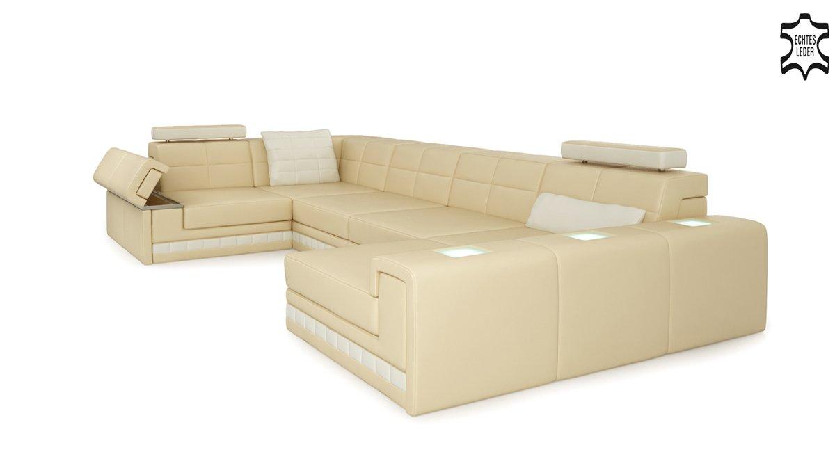 Ledercouch eckcouch  Designsofa Leder Wohnlandschaft Ecksofa weinrot / creme Couch Sofa ...