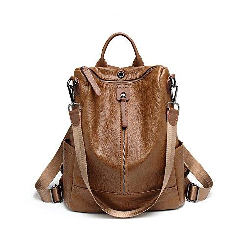 véritable sac femmes Grand noir à dos dos Brown single sac cuir Vintage sac à Moyen pour les sac en occasionnel Zipper ville en sac cuir chaud quotidien à dos dos à g7Oqpdw