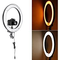 Neewer® Photo Ring Fluorescent Flash Light Kit, includes(1)18inch Outer 14inch Inner 75W 5500K Ring Light+(1)Color Filter Set(White,Yellow)+(1)Mini Ball Head and Hot Shoe Adapter Camera Cradle