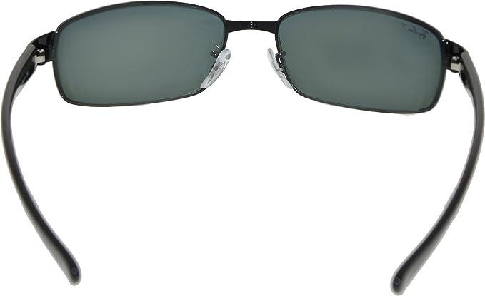 4100619f87f Ray-Ban 3364 002 58 Black Crystal 3364 Rectangle Sunglasses Polarised Lens  Category 3 Size Small 59mm  Ray Ban  Amazon.co.uk  Clothing