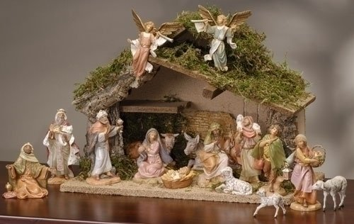 17 Piece Fontanini 5 Christmas Nativity Figure Set With Italian Stable 54492 Amazoncouk Kitchen Home