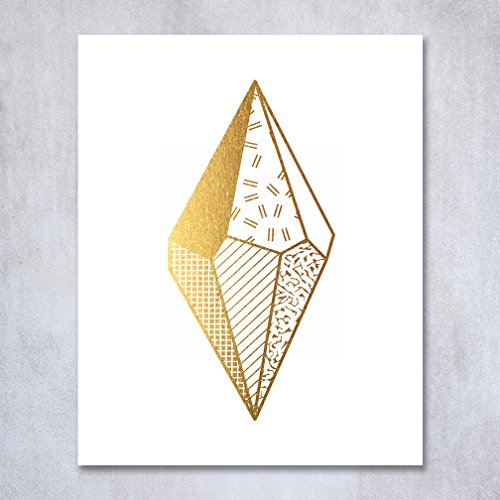 Abstract Gemstone Gold Foil Print Poster Hand Drawn Pattern Gem Geometric Modern Art Contemporary Gold Decor 8 inches x 10 inches C39