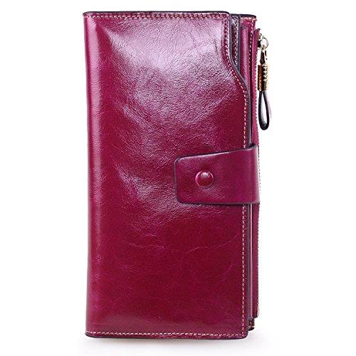 Color Block Genuine Leather - AINIMOER Women's Large Capacity Luxury Wax Genuine Leather Ladies Wallet With Zipper Pocket(Purple Red)