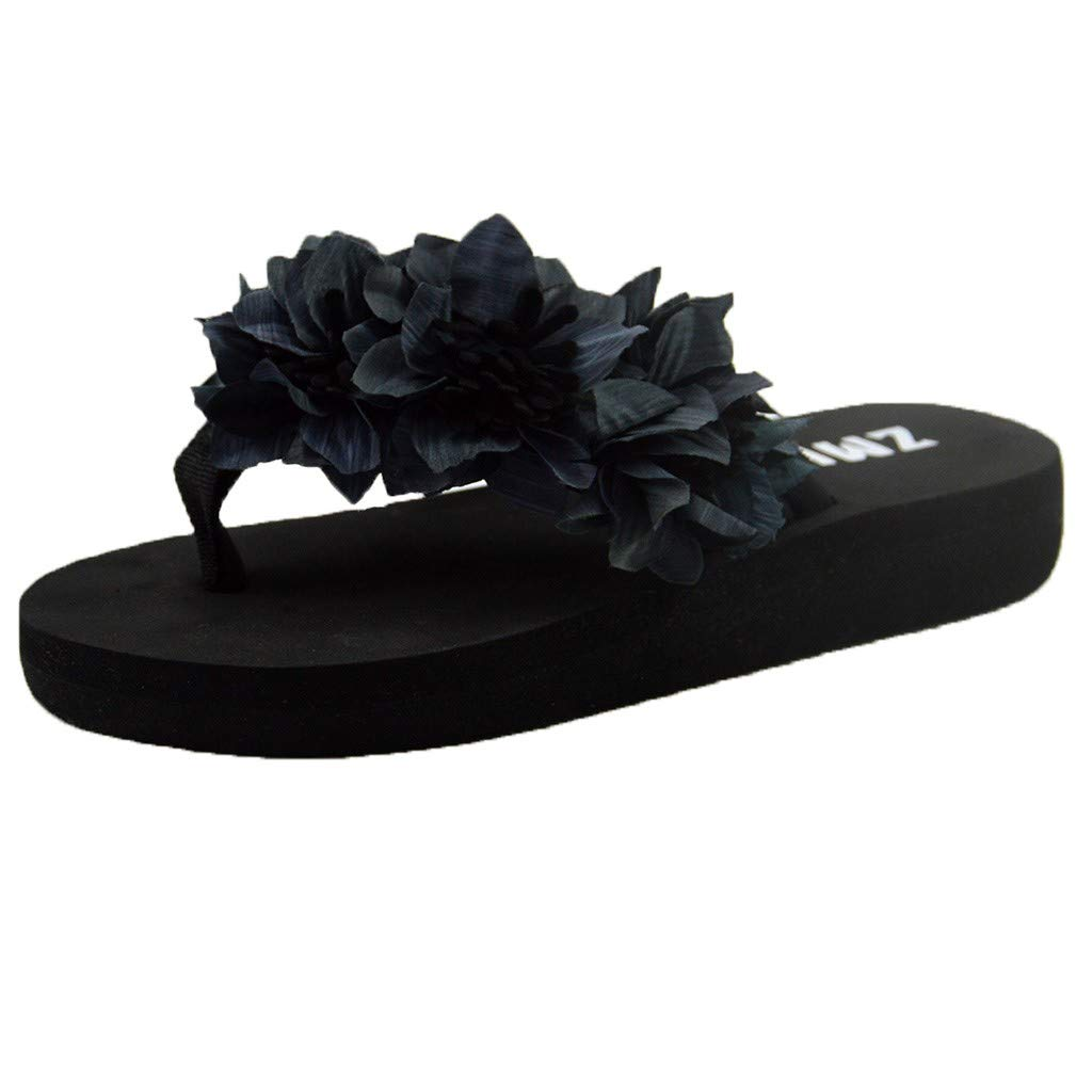 {Minikoad}Women Flat Bottom Sandals,Ladies Beach Flip Flops Shoes Muffin Home Bathroom Shoes (US:7.5, Gray)