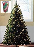 Pre-lit 6.5' GREEN Artificial Christmas Tree 400 Clear Lights 600 Tips FREE 41 Ornaments