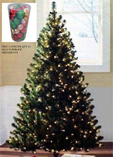 (Pre-lit 6.5' GREEN Artificial Christmas Tree 400 Clear Lights 600 Tips FREE 41 Ornaments)
