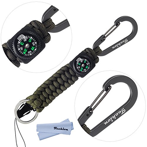 (Techion Paracord Survival Keychain Compass, [60-inch Disassembled Length] 7-inch Braided Strong Paracord Keychain with Key Ring, Compass, Carabiner and Quick Release Clip(Army Green))
