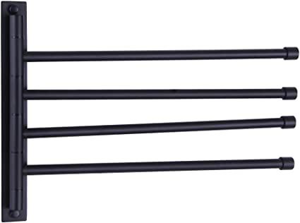 Stainless Steel Swivel Towel Rack 3 Bar Holder Organizer Black Folding Arm