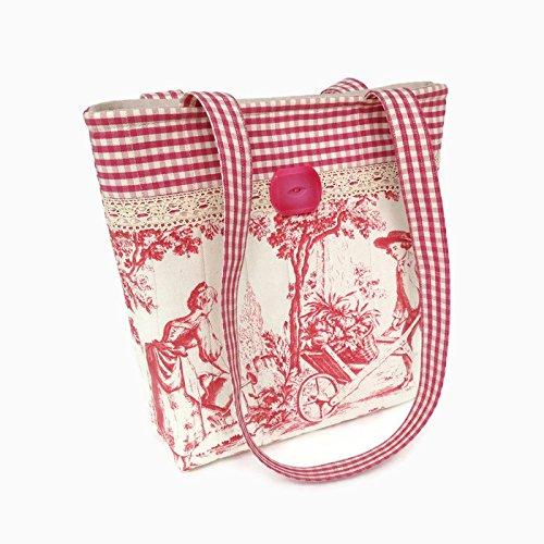 Cotton Handbag, Womens Shoulder Bag, Toile Purse, Pink Totebag