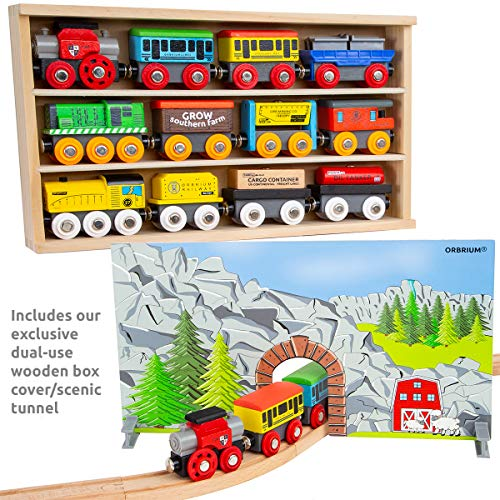 Orbrium Toys 12 Pcs Wooden Engines & Train Cars Collection Wooden Train Set Compatible with Thomas Wooden Railway, Thomas the Tank Engine, Brio, Chuggington