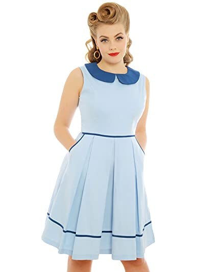 Lindy Bop Molly Sue Pastel Blue Day Dress Amazon Clothing