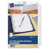 Avery 11313 Pre-Printed Dividers,w/7 Holes,12-Tabs,A-Z,8-1/2''x5-1/2,WE