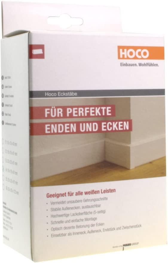 Au/ßenecke Leisten Verbinder Echtholz wei/ß lackiert E3 Trevendo/® Eckturm 4er Pack Eckstab Innenecke 22 x 22 x 65 mm