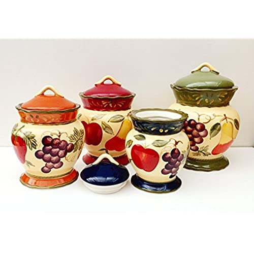 Charmant Tuscany Garden Colorful Hand Painted Mixed Fruit Canisters, Set Of 4, 89201  By ACK