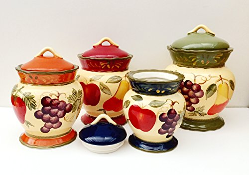 - Tuscany Garden Colorful Hand Painted Mixed Fruit Canisters, Set of 4, 89201 by ACK