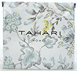 Tahari Luxury French Country Duvet Cover Vintage Floral Birds Cotton Jacquard 3 Piece Bedding Set in Grey Blue Green on White (Queen)