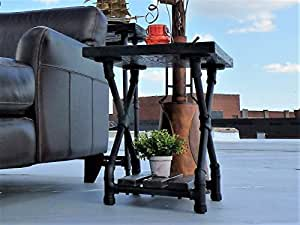Furniture Pipeline Rustic Side End Table-Bedroom Night Stand, Metal with Reclaimed Aged Wood Finish, Black Steel Pipes and Fittings with Dark Brown Stained Wood