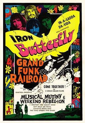 - Iron Butterfly - Grand Funk Railroad - 1970 Concert Movie Promo Poster