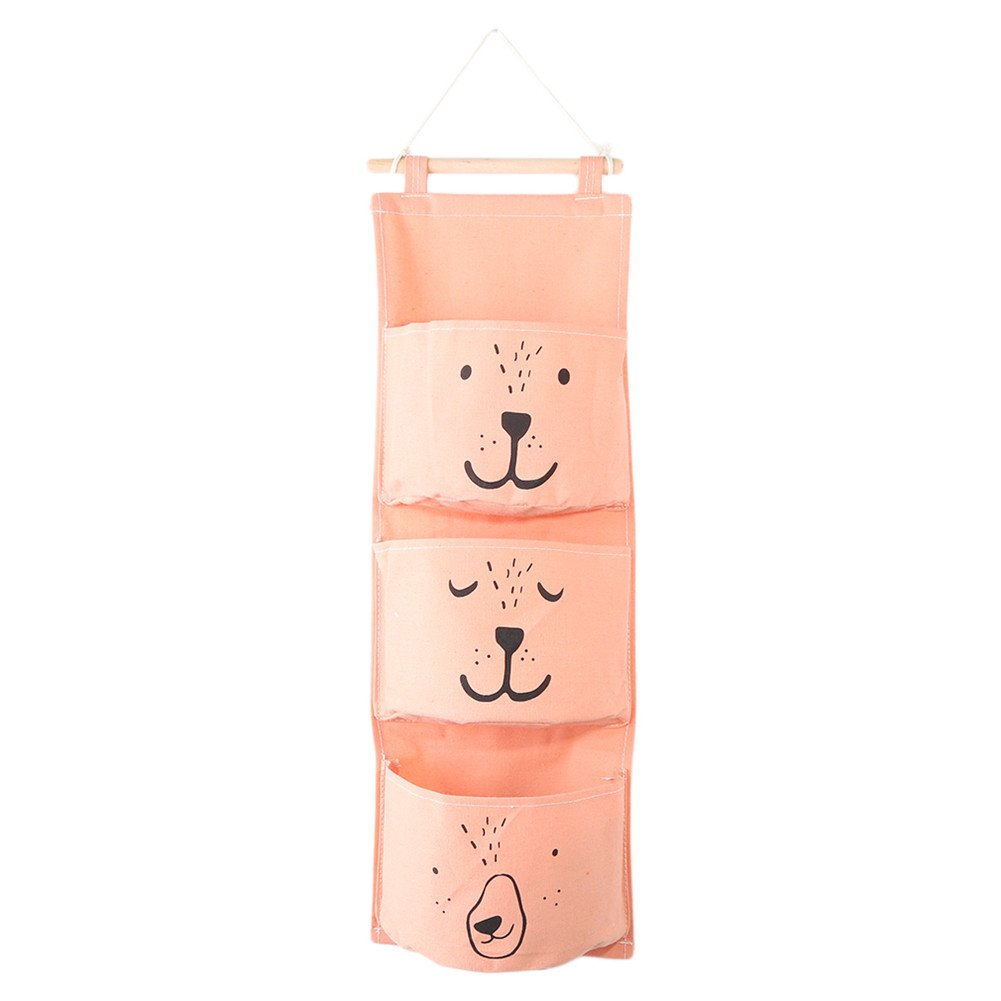 Gluckliy Cotton Linen Bear Wall Door Closet Hanging Storage Bag Space Saver Home Organizer with 3 Pockets (Green) fangqiang