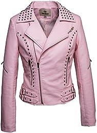 Amazon.com: Pink - Leather &amp Faux Leather / Coats Jackets &amp Vests