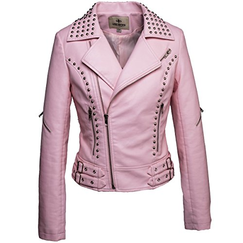 LLF Women's Faux Leather Studded Punk Style Cropped Jacket Pink Large (16B1660)