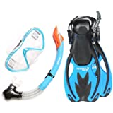 Junior SILICONE Mask, Snorkel & Fins 3PC Kids Diving Set