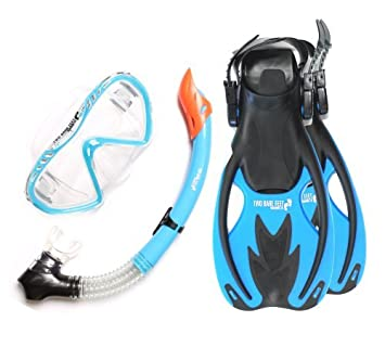 955ab4471d9 Two Bare Feet Junior SILICONE Mask, Snorkel & Fins 3PC Kids Diving Set (Aqua