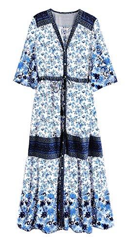 R.Vivimos Women Summer Cotton V Neck Buttons Floral Print Drawstring Bohemian Maxi Dresses (Small, Blue)