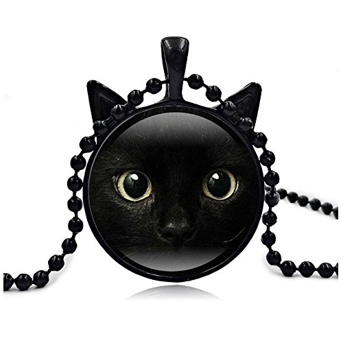Woman Fashion Jewelry Retro Cute Cat Pendent Necklace for Lover Gift?Black?