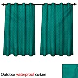 WilliamsDecor Teal 0utdoor Curtains for Patio Waterproof Knitting Inspired Pattern Sewing and Crafting Hobby Themed Design Monochrome Image Print W120 x L72(305cm x 183cm)