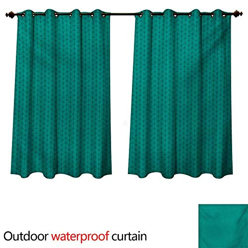 WilliamsDecor Teal 0utdoor Curtains for Patio Waterproof Knitting Inspired Pattern Sewing and Crafting Hobby Themed Design Monochrome Image Print W120 x L72(305cm x 183cm) by WilliamsDecor (Image #1)