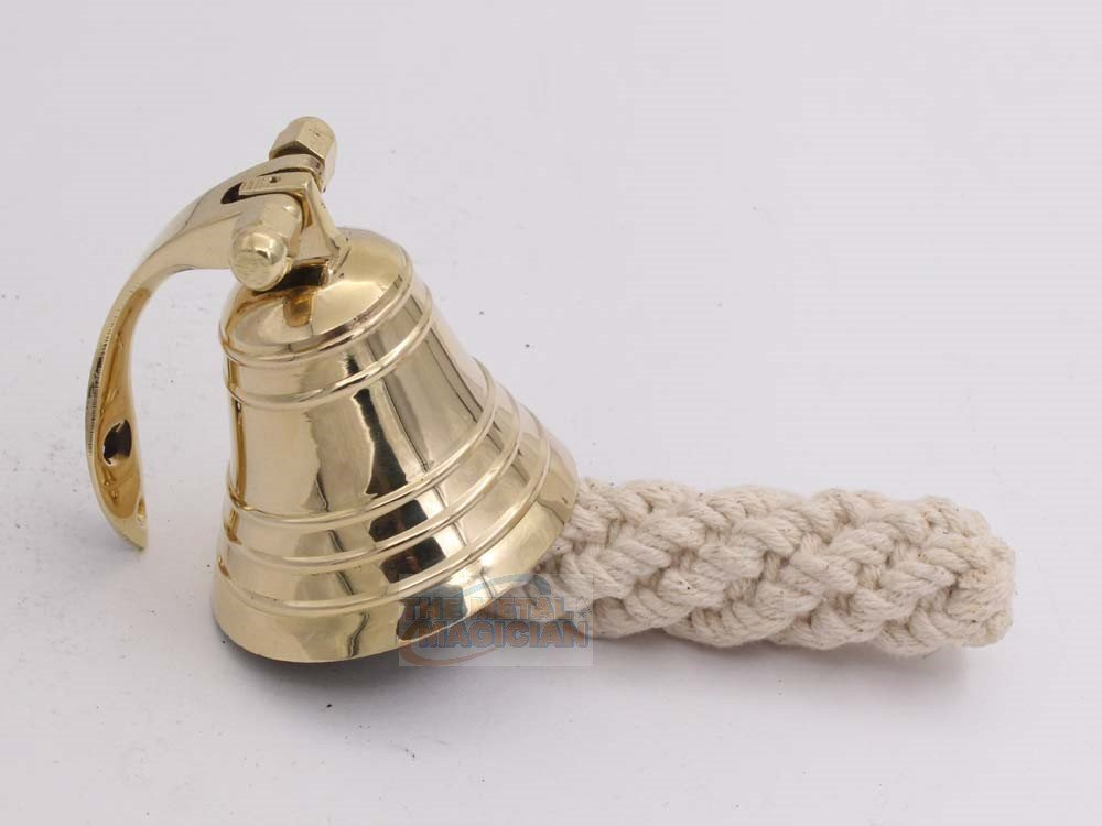 2'' Polish Ship?s Bell Maritime Duty Watch/Indoor/Outdoor/Last Orders/Pub/Door/School/Dinner/Reception Wall Mountable Brass Bell With Wall Mount By The Metal Magician
