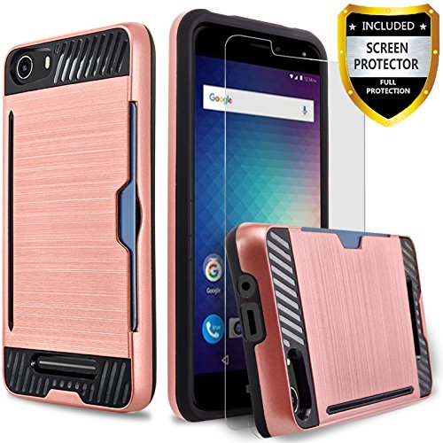 BLU Advance 5.0 Case, [Not Fit BLU Advance 5.0 HD] Circlemalls 2-Piece Style Hybrid Shockproof Hard Case Cover With [Premium Screen Protector] And Touch Screen Pen (Rose Gold)