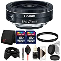 Canon EF-S 24mm f/2.8 STM Lens with Top Accessory Bundle for Canon DSLR Cameras