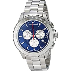 Roberto Cavalli by Franck Muller Men's 'ROUND Chrono' Quartz Stainless Steel Casual Watch, Color:Silver-Toned (Model: RV1G014M0066)