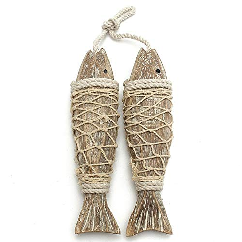 2Pcs Retro Mediterranean Style Retro Rustic Hand Carved Hanging Wood Fish Ornaments for Home Hanging Decor Gift