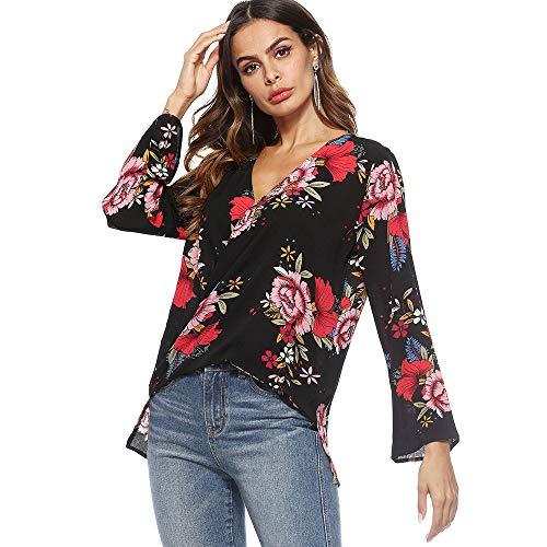 - KCatsy Women V-Neck 3/4 Sleeve Cross Plunge Polyester Floral Print Sexy Blouse(XL,Black)