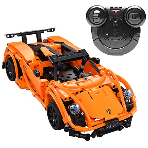The perseids DIY RC Car Building Kit Toy, 2.4 Ghz Remote Control Vehicle in Orange 421 pcs USB Rechargeable, Gift for 6-14 Years Old Boys Girls from The perseids