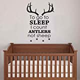 "BATTOO Nursery Wall Decals To Go To Sleep I Count Antlers Not Sheep Boy Wall Decal Quotes Deer Antler Hunting Kids Bedroom Nursery Home Décor(Dark Brown, 15""h x22""w)"