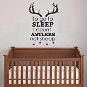BATTOO Nursery Wall Decals To Go To Sleep I Count Antlers Not Sheep Boy Wall Decal Quotes Deer Antler Hunting Kids Bedroom Nursery Home Décor(Black, 22  h x32 w)