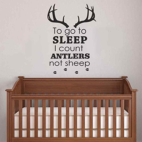 BATTOO Nursery Wall Decals To Go To Sleep I Count Antlers Not Sheep Boy Wall Decal Quotes Deer Antler Hunting Kids Bedroom Nursery Home Décor(Dark Brown, 15