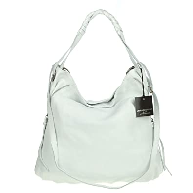 Amazon.com: LAURA DI MAGGIO Italian Made White Leather Shoulder ...