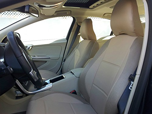 (topcar-athens Mix Leatherette and Synthetic Custom Fit Two Front Car Seat Covers (Fits on Volvo S40 V40 S60 S70 V70 S80 Models Until 2014 Seats) (All TAN))