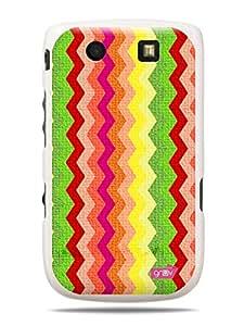 GRÜV Premium Case - 'Fabric Zig Zags Waves' Design - Best Quality Designer Print on White Hard Cover - for Blackberry Torch 9800 9810